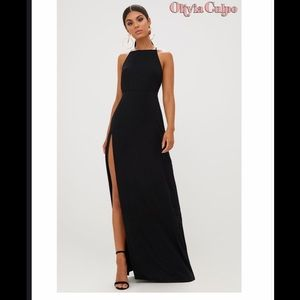 NWT Black Strappy Back Detail Chiffon Maxi Dress
